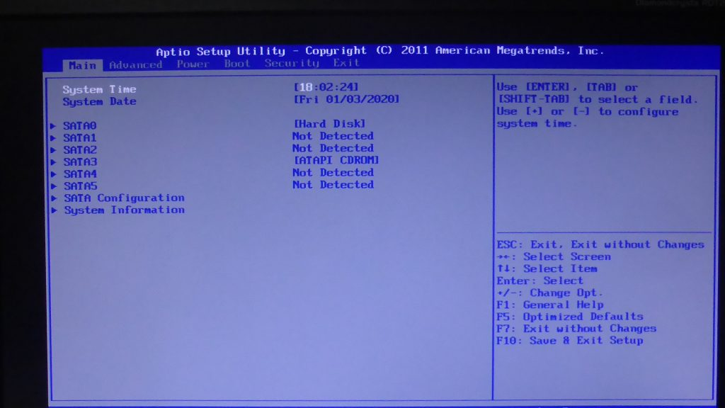 Epson TY5000SのBIOS設定画面